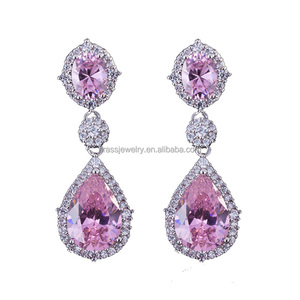 Beautiful High Quality Big Pink AAA Cubic Zirconia Crystal Long Drop Earrings for Women Wedding Party