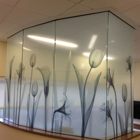 Reverse printed static cling glass vinyl non-adhesive frosted privacy window film