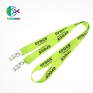 Polyester Silk Screen Printing Gold Metal Clip Lanyards With Logo Custom