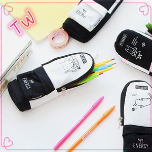2017 new arrival stationery item factory price wholesale china black and white canvas pencil pouch for college