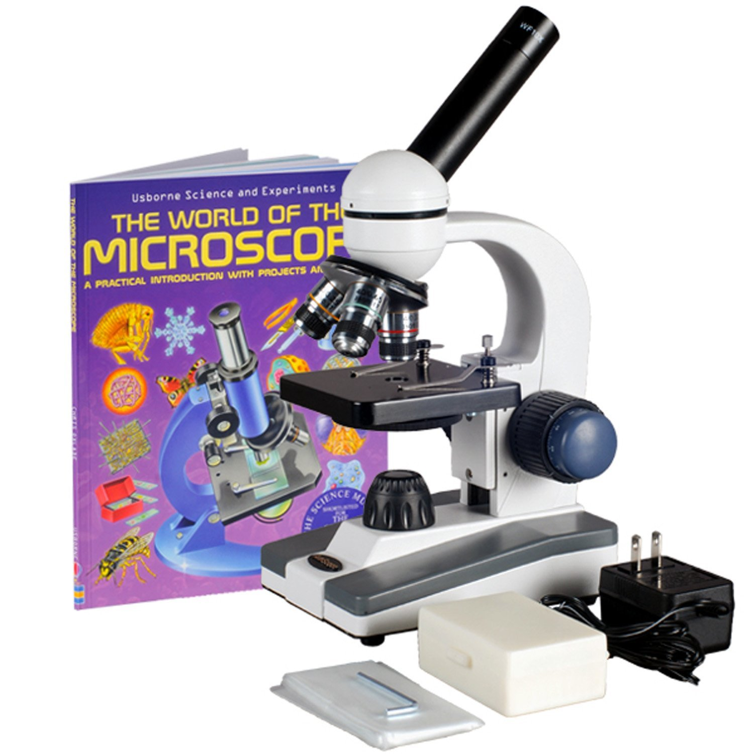 LED Illumination Plain Stage AmScope M200B-LED Cordless Monocular Compound Microscope Coarse and Fine Focus 110V or Cordless Operation 40x-800x Magnification WF10x and WF20x Eyepieces Single-Lens Condenser Brightfield