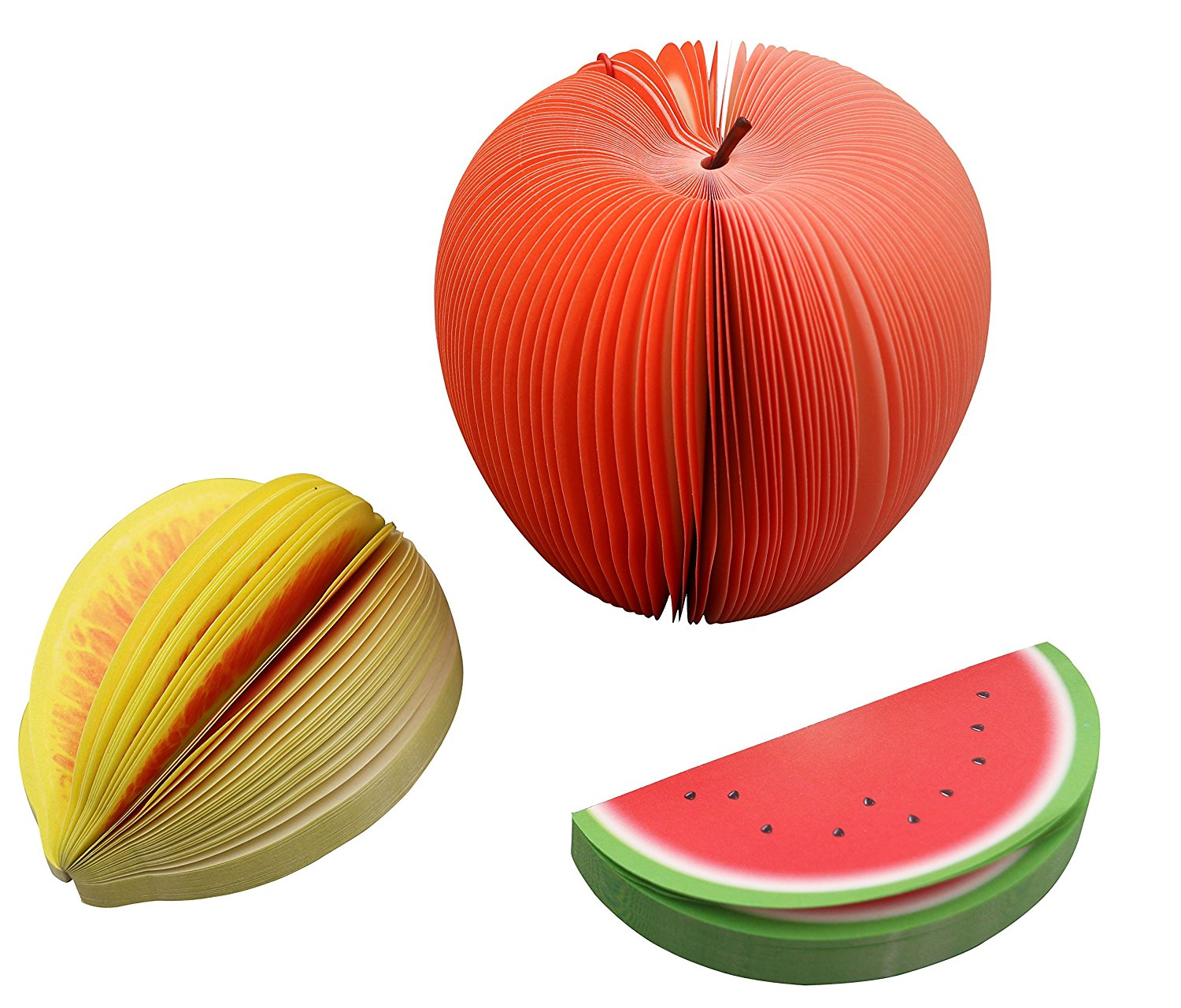 Memo Notes 3D Fruit Shape Non-Sticky, Cute DIY Memo Pads, Kawaii Colorful Fruit Stationery, Creative Three-dimensional Table Decoration Post Notepads, Pack of 3 ( Apple/ Lemon/ Watermelon )