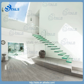 Stainless Steel Fittings Stair Tread Stair Glass Railing Prices Indoor Glass  Stair Railings