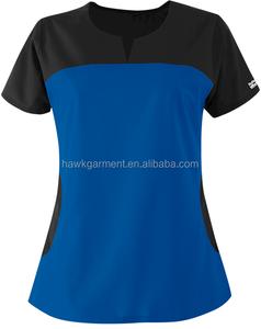 Polycotton Contrasted Color Round Notch Neck Hospital Medical Nurse Short Sleeve Uniform