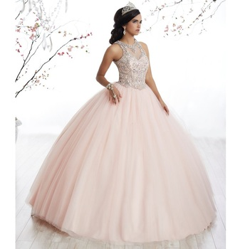 195412e1385 Illusion Neck Beaded Rhinestone Keyhole Back Ball Gowns Sweet 16 Dresses  2018 New Fashion Pink Quinceanera