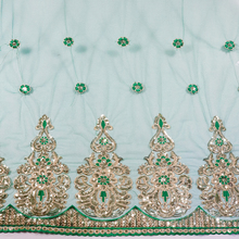 2017 Nieuwe Collectie Indian Mooie Groene Pailletten kant stof <span class=keywords><strong>Saree</strong></span> <span class=keywords><strong>grens</strong></span>