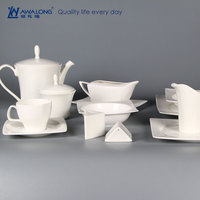 Turkish square white dinnerware porcelain / table ware fine bone china dinner set