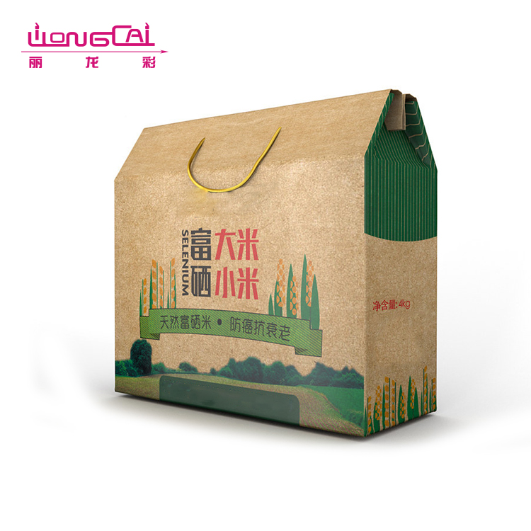 Custom made eco kraft food packaging boxes take out food box with handle