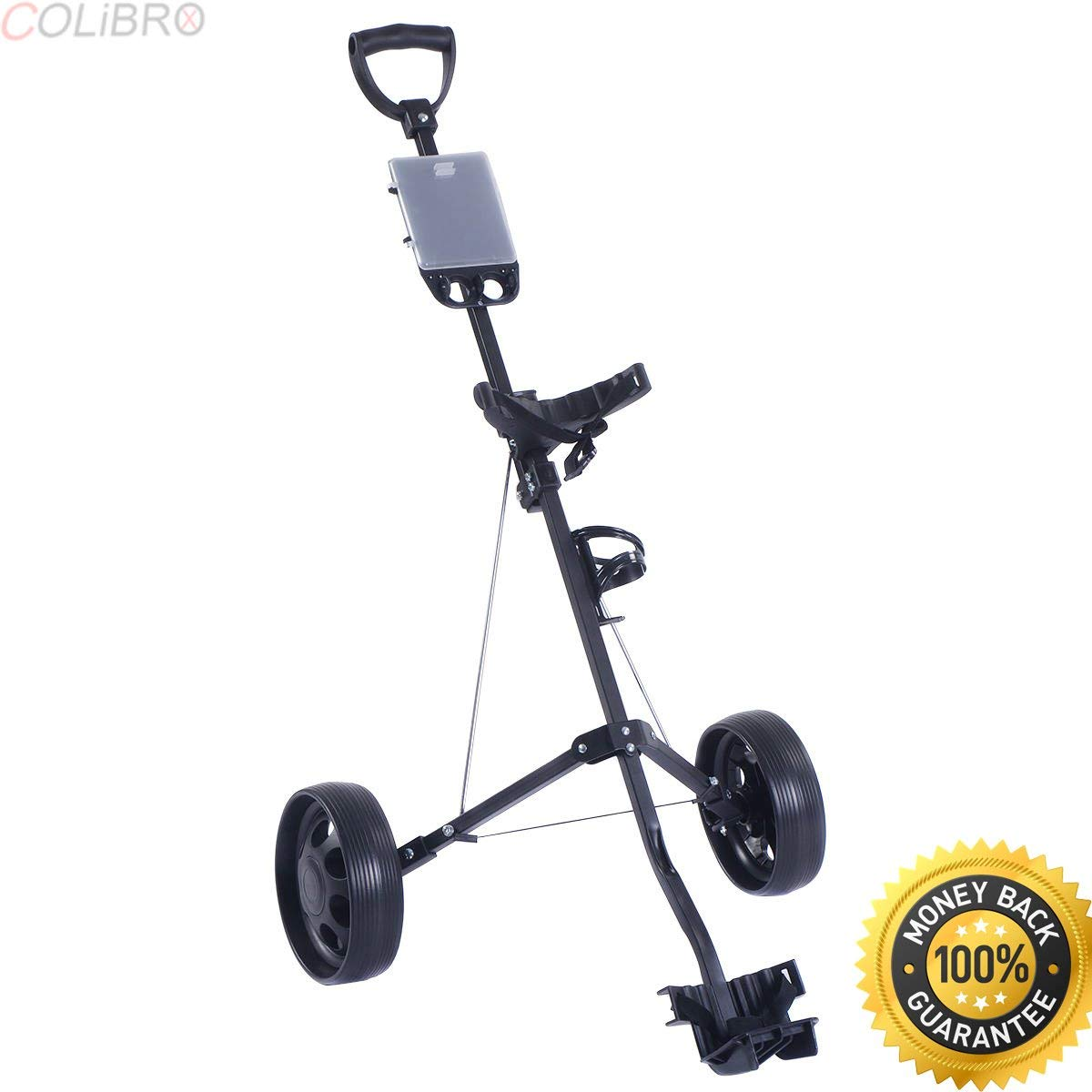 COLIBROX--New Foldable 2 Wheel Push Pull Golf Cart /Cup Holder Trolley Swivel Steel Light. pull carts walmart. costway golf cart. best golf pull carts for sale. golf pull carts amazon.