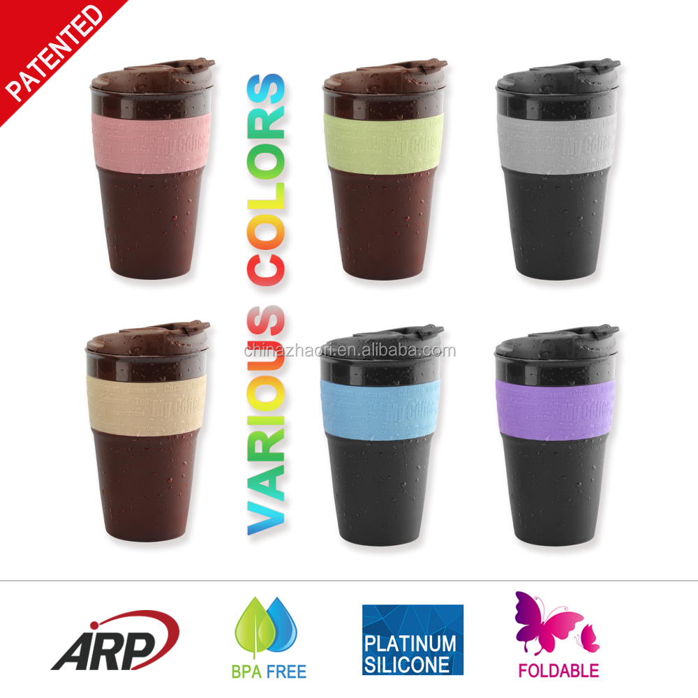 2016 Hot sale candy color BPA FREE wholesable cheap office collapsible silicone coffee cups