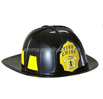 aea490f240 Chapéus plásticos duros pretos do capacete do bombeiro para o acessório  HT2606 do vestido de fantasia