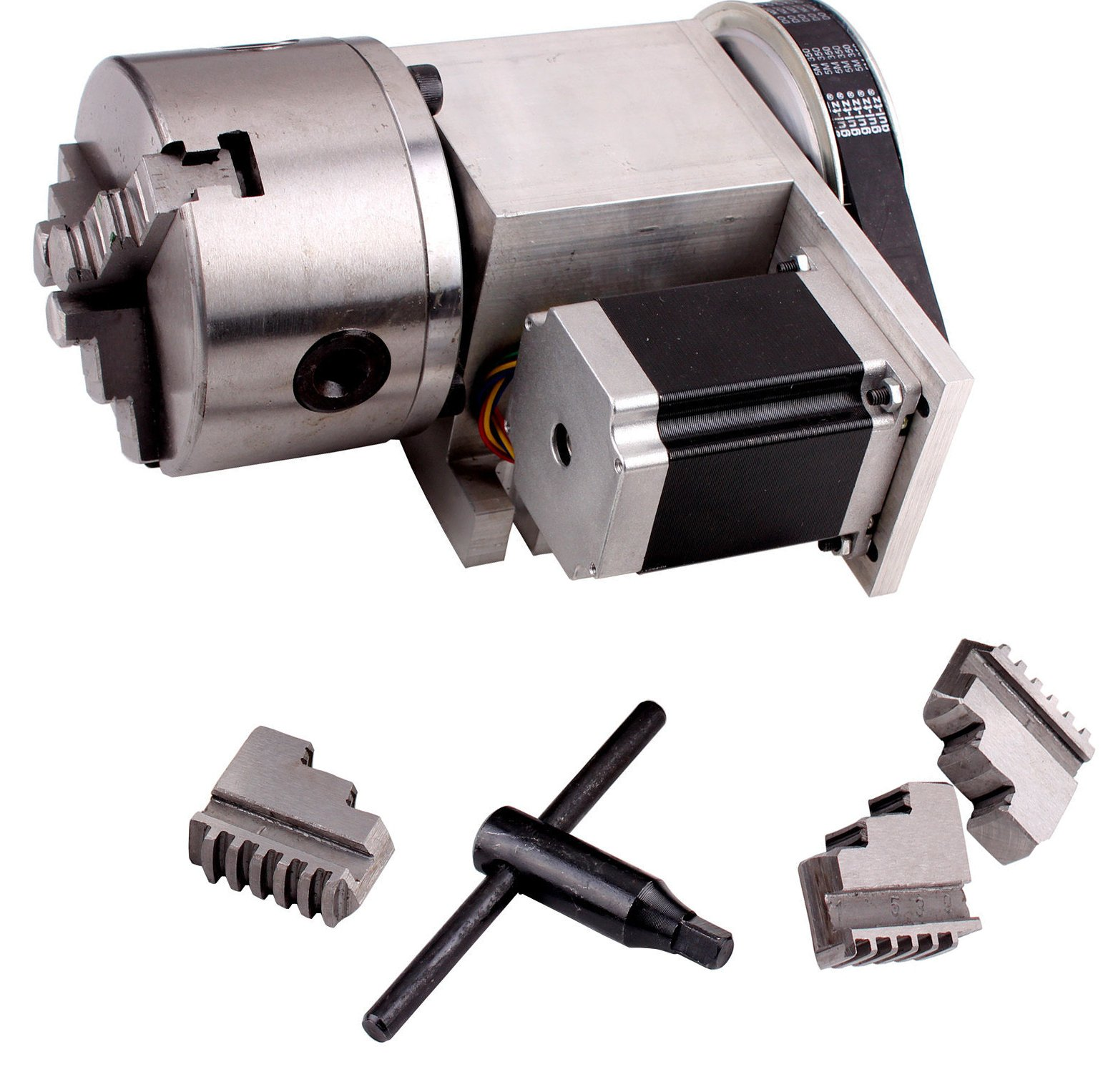 CNC Router Rotational Axis, 4th Axis, A axis 100mm Three 3-Jaw Chuck 6:1 for CNC Engraving Machine