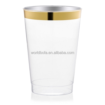 10oz clear cup disposable plastic wedding tumblers with gold rim