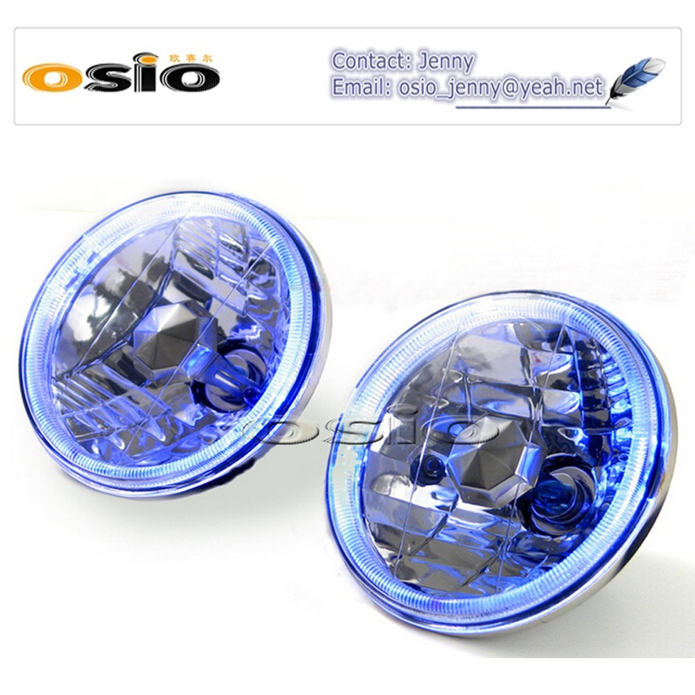 5'S BMC CRYSTAL GLASS withBLUE HALO RING 12V/24VAuto Halogen Semi Sealed Beam Auto Halogen Lamp Install H4 or HID H4 Xenon Bulb