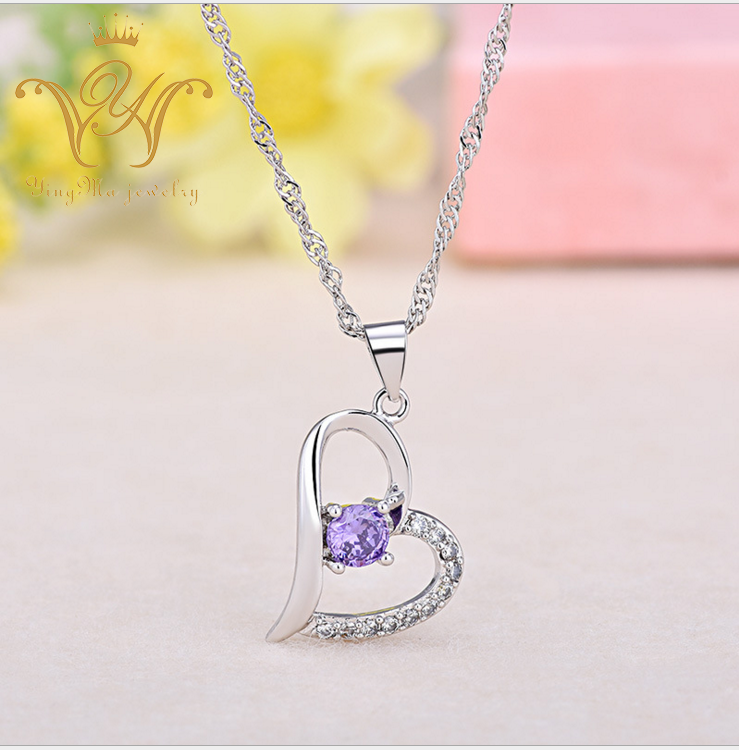 Fashion temperament copper silver plated purple crystal pendant