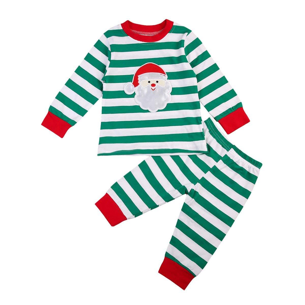 2f0845d365 Get Quotations · Newborn Baby Boy Stripe Pajamas Long Sleeve Tops Pants  Cute Christmas 2pcs Sleeper Wear Set