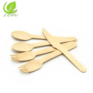 Biodegradable Wooden Disposable Cutlery Set spoon fork and knife