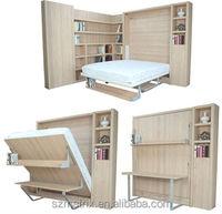 China supplier folding wall bed,wooden folding wall bed with desk