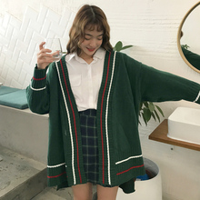 PEONFLY Fashion Sweater Loose Coat Women Spring And Autumn Long Sleeve New  Stripe V-Neck 0041d05ac