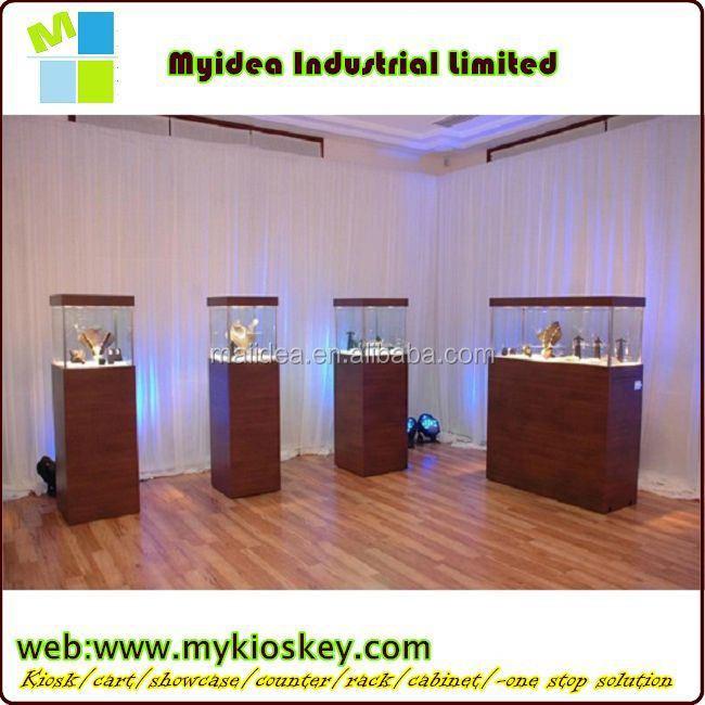 Led Light Glass Corner Jewelry Showcase Design