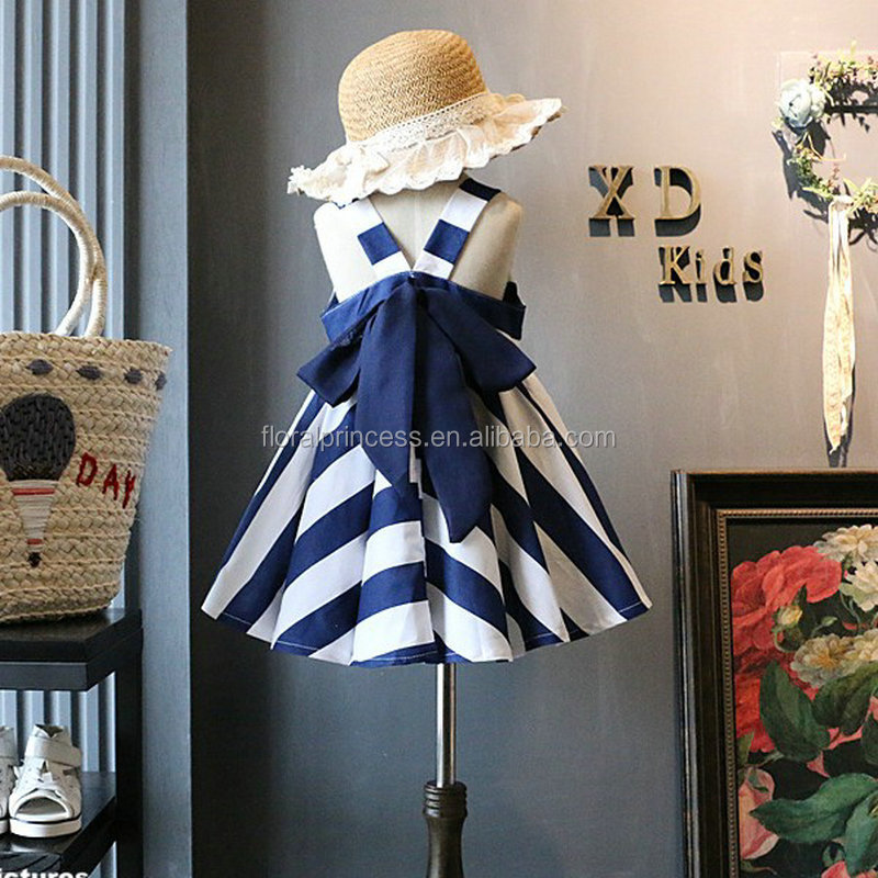 bohemian style kids girl blue and white striped tutu dress cross big bowknot dresses