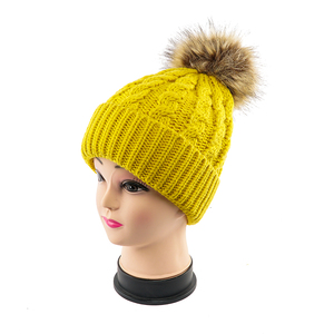 Custom Design Promotional Knitted Beanie With Pom Pom Fur Ball Knit Hat