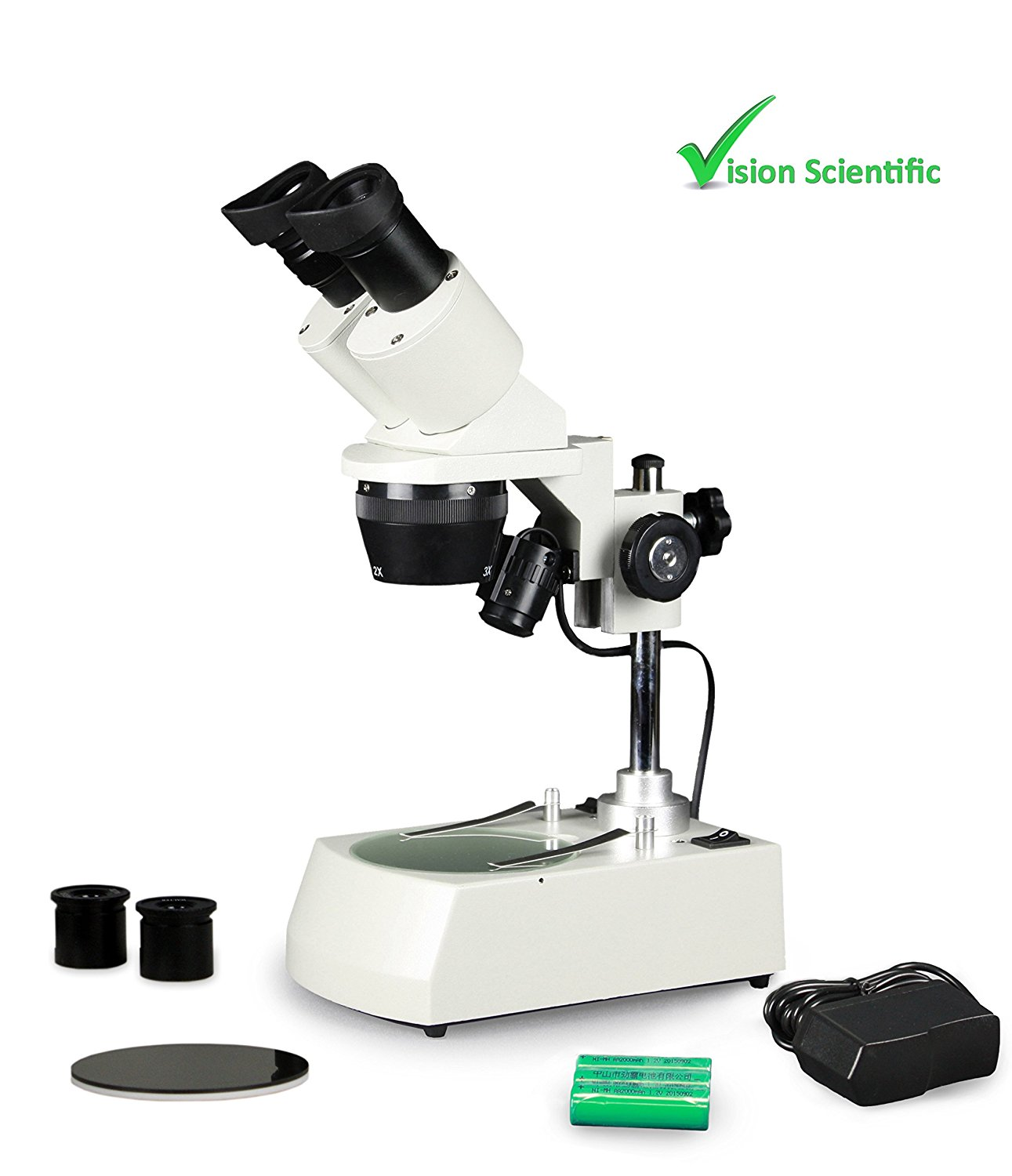 Vision Scientific VMS0002-RC-234-ES2 Tri-Power Binocular Stereo Microscope, 2x, 3x, 4x Objectives, Pair of 10x and 20x WF Eyepieces, 20x–80x Magnification, LED Illumination, Rechargeable Battery