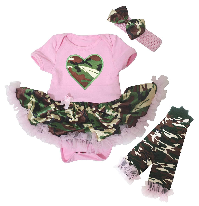0462c65e3ff7 Get Quotations · Petitebella Camo Heart Pink Bodysuit Camouflage Baby Dress  Leg Warmer Nb-18m