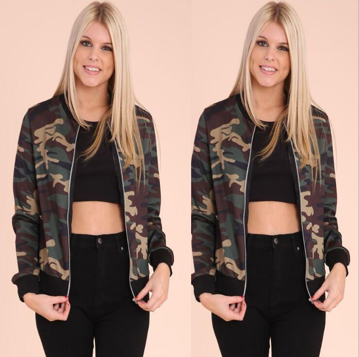 LM2908Q 2017 European women army green coats camouflage round collar zipper jacket