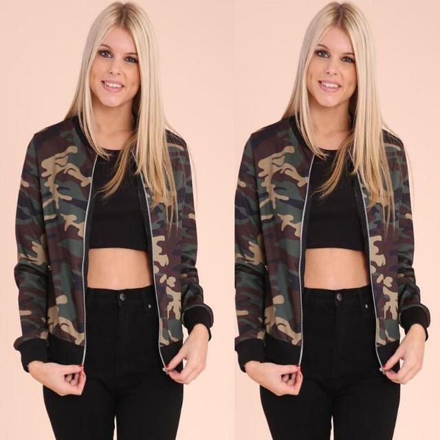 LM2908Q 2017 European women army green coats camouflage round collar zipper jacket