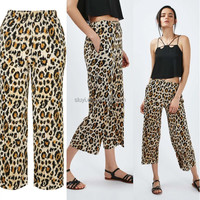 new design Leopard Print trousers cropped edgy shorter length trousers