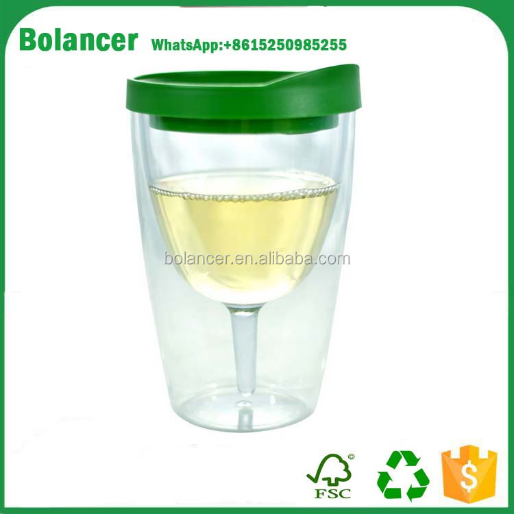 Insulated Vino Double Wall Acrylic Wine Tumbler with Drink Through Lid