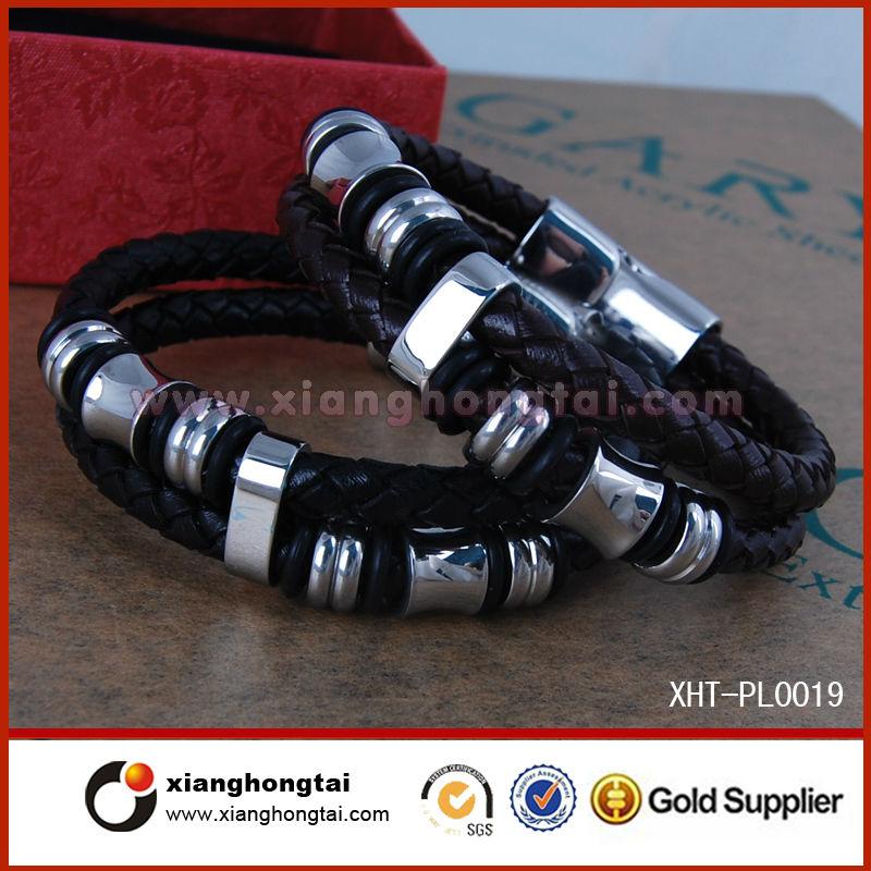 2014 мужские кожаные браслеты с 3500 Guass магнитной застежкой