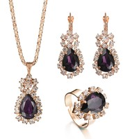 Cubic Zircon Colorful Crystal Rhinestone Water Drop Wedding Jewelry Set 3Pcs Necklace Earring Ring Set