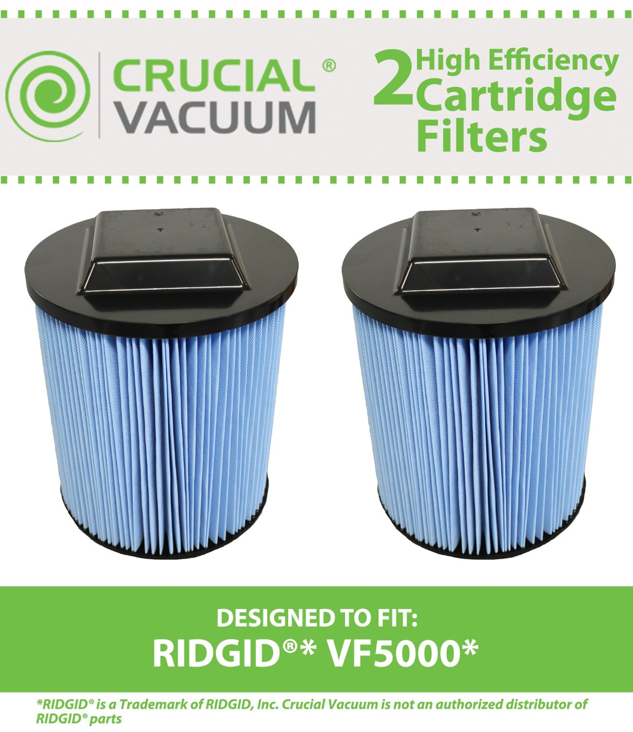 Think Crucial 2 Replacements for Ridgid VF5000 Filter Cartridge Fits 6-20 Gallon Wet & Dry Vacuums, Compatible With Part # VF5000, Washable & Reusable