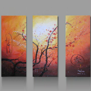 handmade home decor Chinese plum blossom canvas flower paintings