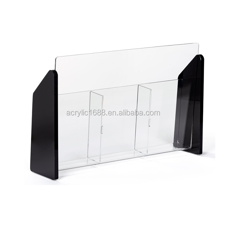 3-Pocket Acrylic Magazine Rack Brochure Holder for Tabletop