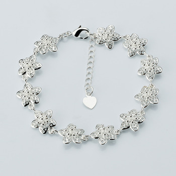 c1072d59afa042 Rellecona 925 silver plated bracelet flower shape jewelry girls' silver  bracelet jewelry