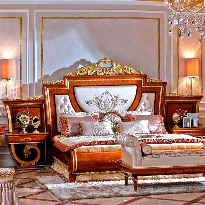 New design Italy antique royal classic king size solid wood bedroom furniture with bedside table