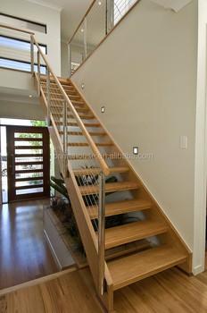 interior de acero inoxidable escaleras barandas de vidrio con madera pasos para precios interiores de madera