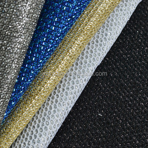 Glitter PU Mesh Fabric Leather Sports Shoes Material