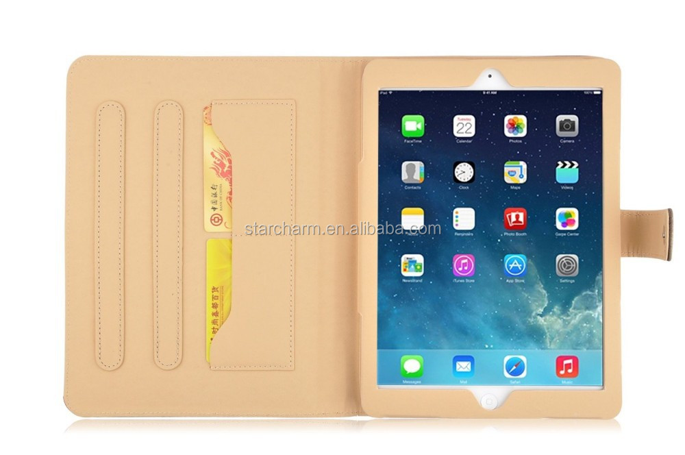 High quality wallet flip leather case cover for ipad 2/3/4 notebook leather case
