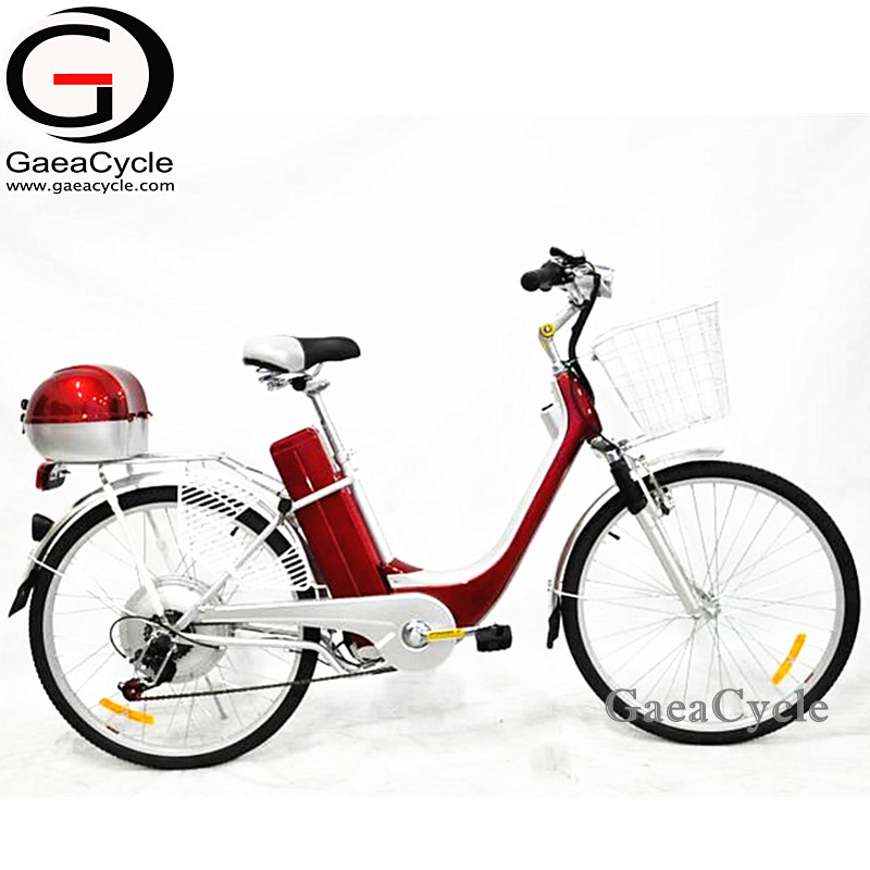 Gaea cheap electric city bike with seat for child 2018 from china dc motor bicycle with shopping baskets