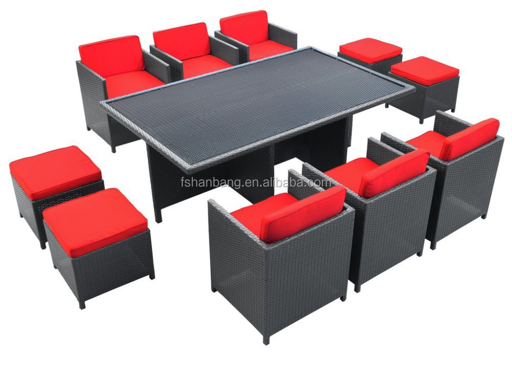 Outdoor Wicker Patio Rattan Cube Garden 11 Piece Dining Table And