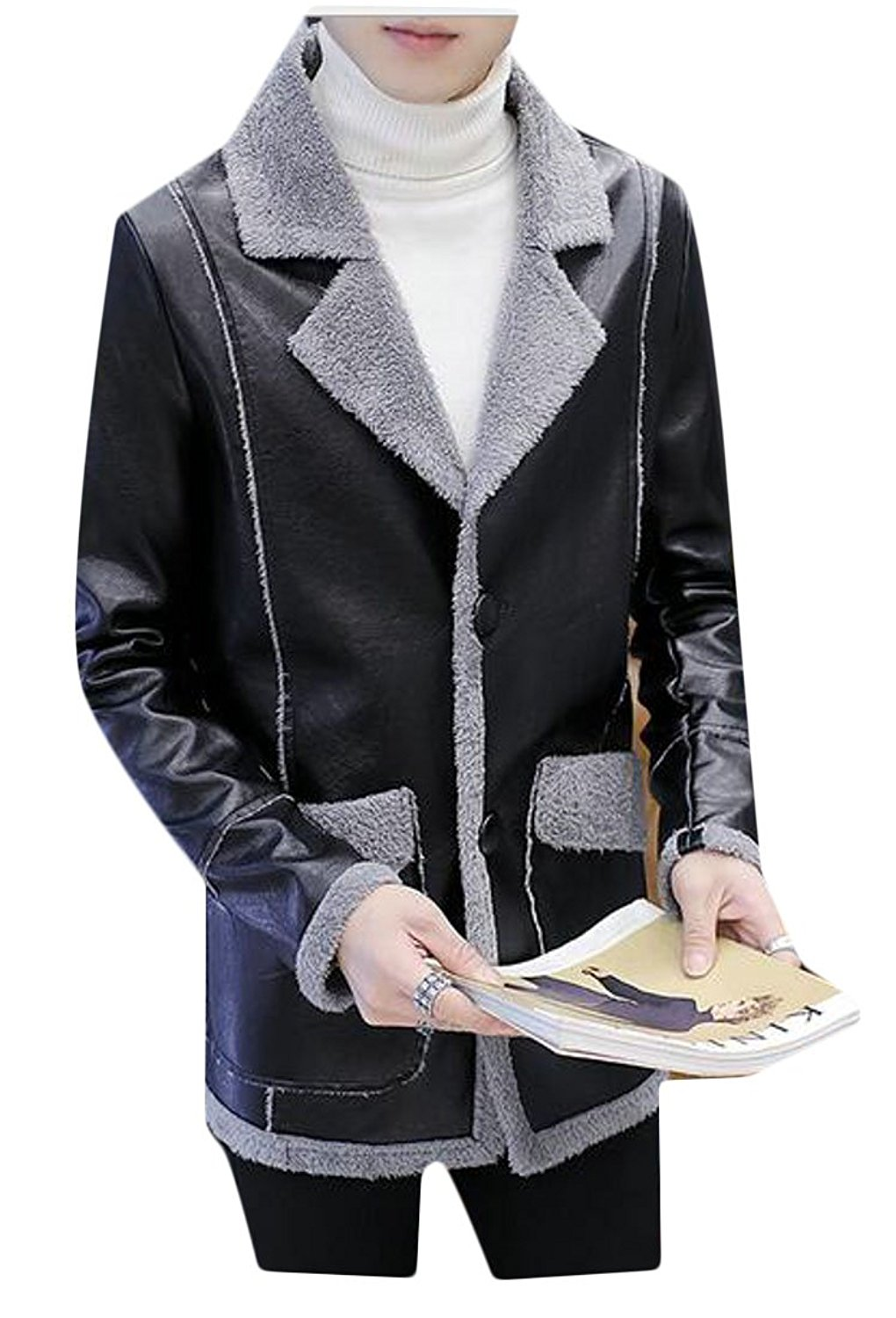 ONTBYB Mens Pu Leather Fleece Winter Motorcycle Single Breasted Thicken Jackets
