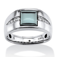 PES Fashion Jewelry! Men's Genuine Hematite and White Sapphire Ring in Platinum Over (PES6-1822)