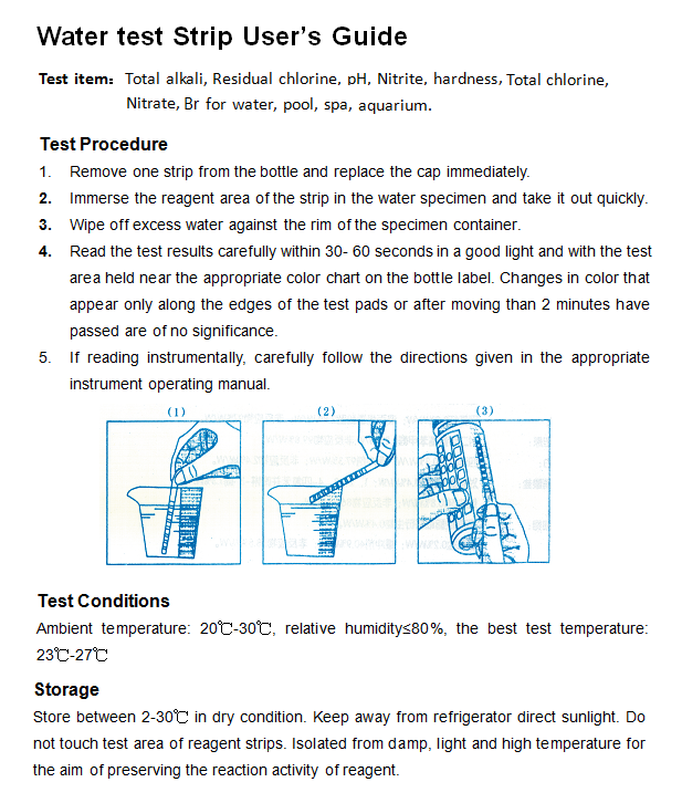 Water quality test  paper for swimming pool/aquarium