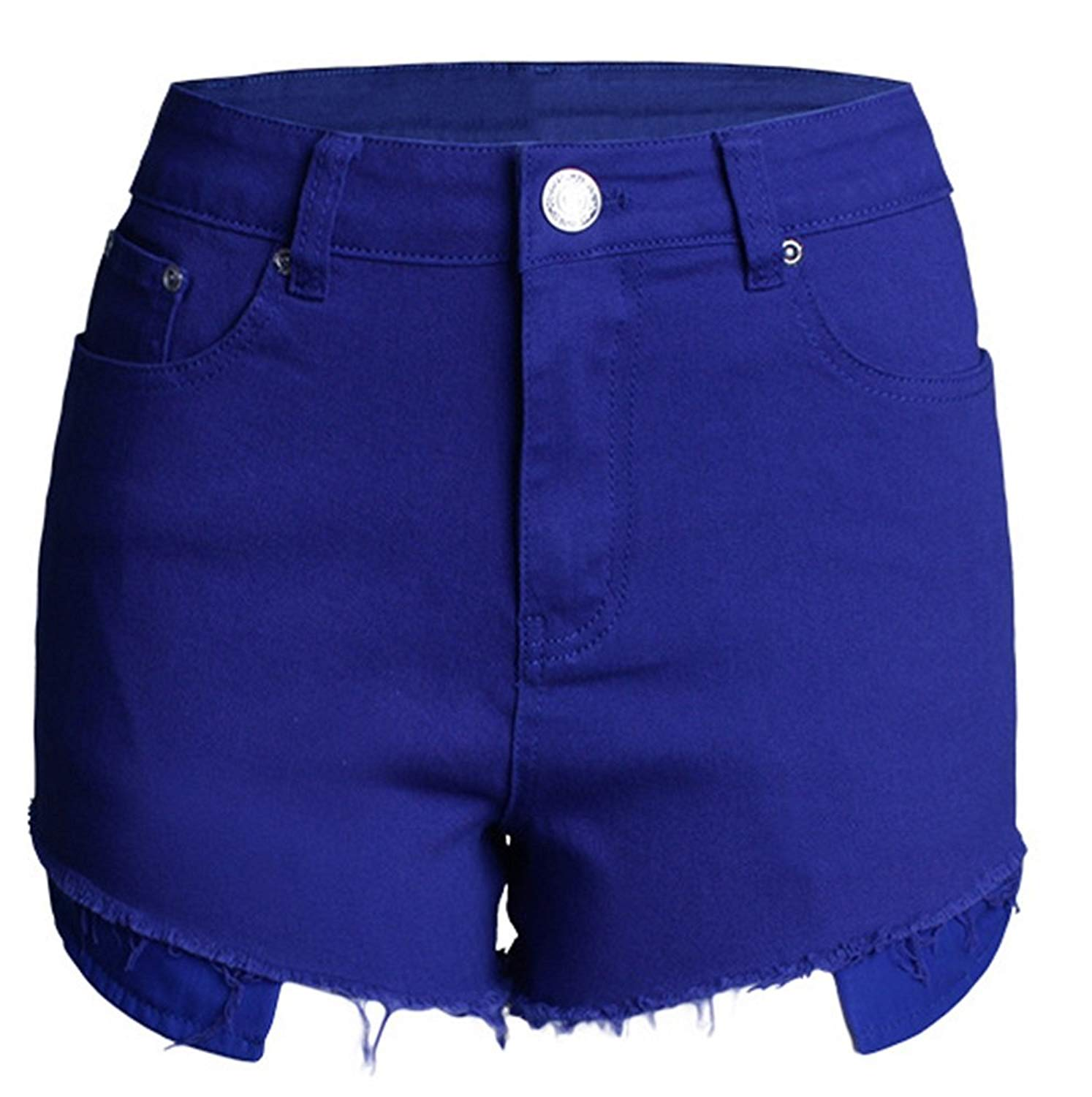 Allonly Womens Cut Off Destroyed High Waisted Slim Fit Embroidered Denim Shorts Jean Shorts Hot Pants With Holes