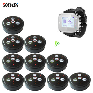 Hot Sales Restaurant Wireless Guest Call Service System with Watch Pager Call button K-300plus+K-D4-Black (1+10)