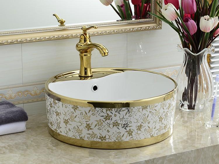 Bathroom Above Counter Art Basin Ceramic Fancy Golden Pattern Sink ...